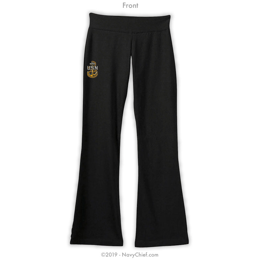 """Embroidered Anchor"" Women's Yoga Pants - Black - NavyChief.com - Navy Pride, Chief Pride."