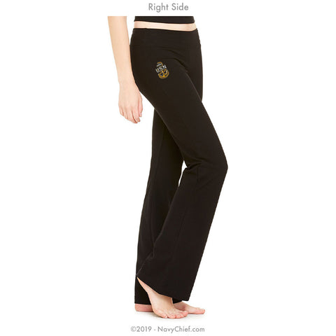 """Embroidered Anchor"" Women's Yoga Pants - Black"