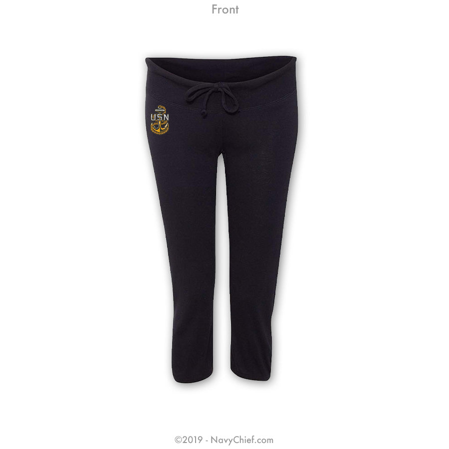 """Embroidered Anchor"" Women's Capri Yoga Pants - Black - NavyChief.com - Navy Pride, Chief Pride."