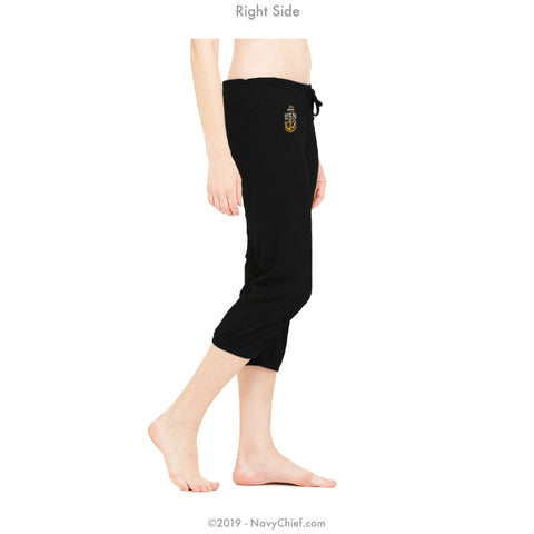 """Embroidered Anchor"" Women's Capri Yoga Pants - Black"