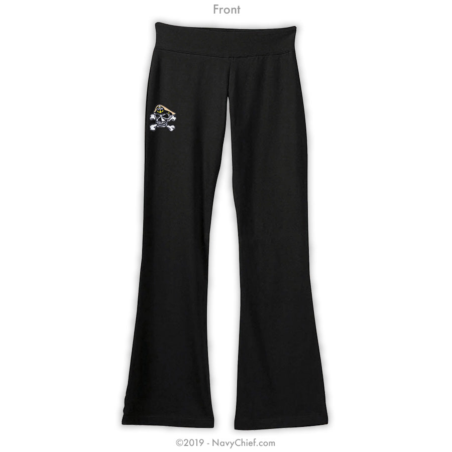 """Embroidered Skull"" Women's Yoga Pants - Black - NavyChief.com - Navy Pride, Chief Pride."