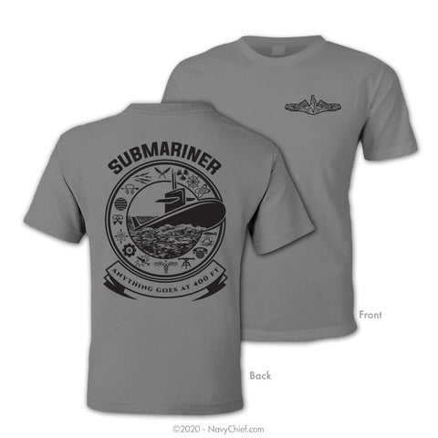 """Submariner"" T-shirt, Sports Gray - NavyChief.com - Navy Pride, Chief Pride."