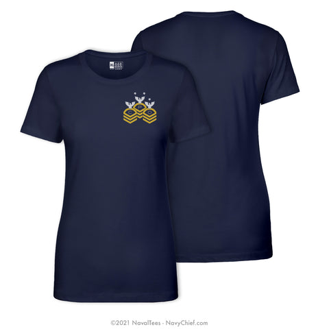 """CPO"" Chevrons Ladies Tee, Navy"