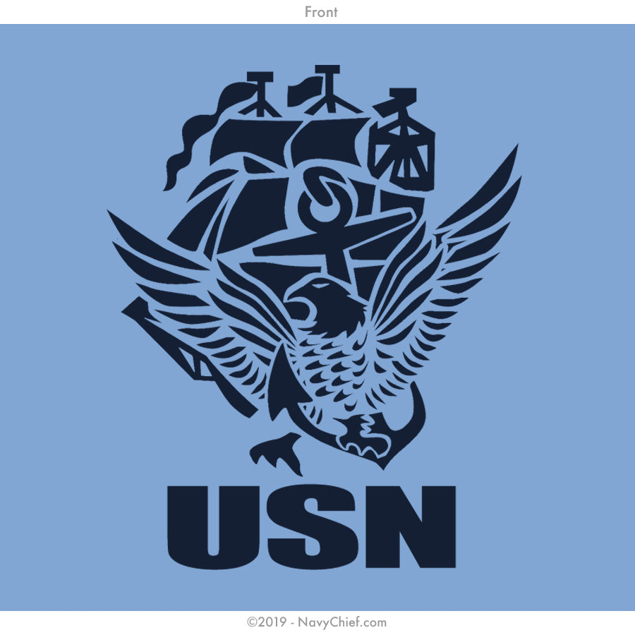 """USN"" ACE Ladies Tee, Light Blue - NavyChief.com - Navy Pride, Chief Pride."