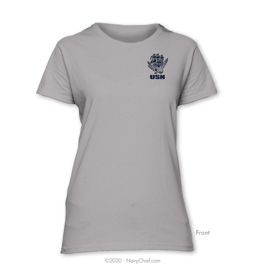 """USN"" ACE Ladies Tee, Silver - NavyChief.com - Navy Pride, Chief Pride."