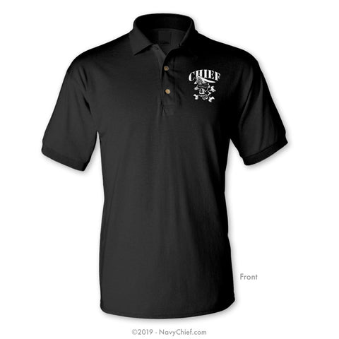 Skull Rank Polo, Black - NavyChief.com - Navy Pride, Chief Pride.