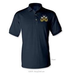 """Chevrons"" Polo, Navy - NavyChief.com - Navy Pride, Chief Pride."