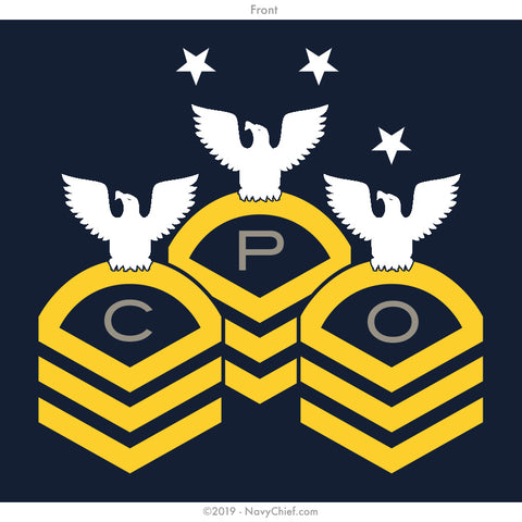 """CPO"" Chevrons Ladies Tee, Navy - NavyChief.com - Navy Pride, Chief Pride."