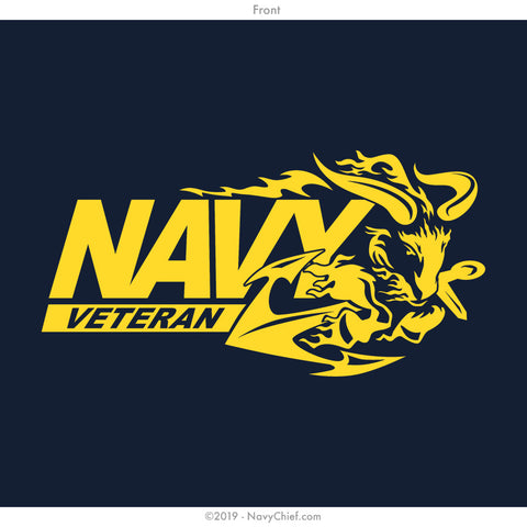 """Navy Vet"" Ram Ladies Tee, Navy - NavyChief.com - Navy Pride, Chief Pride."