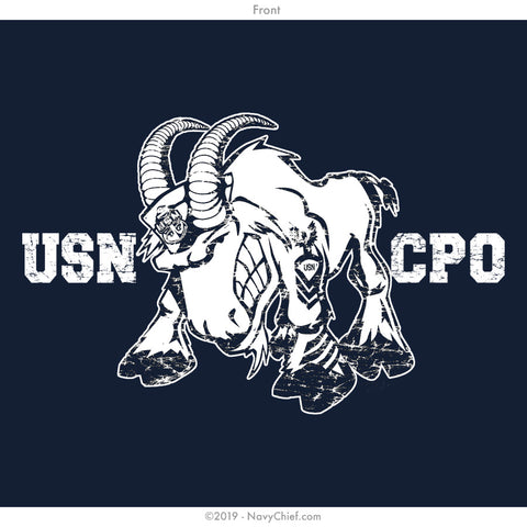 """USN CPO"" Goat Ladies Tee, Navy - NavyChief.com - Navy Pride, Chief Pride."