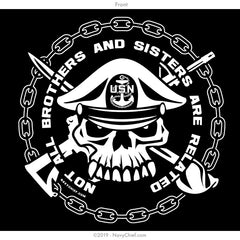 """Bro and Sis"" Skull Ladies Tee, Black - NavyChief.com - Navy Pride, Chief Pride."