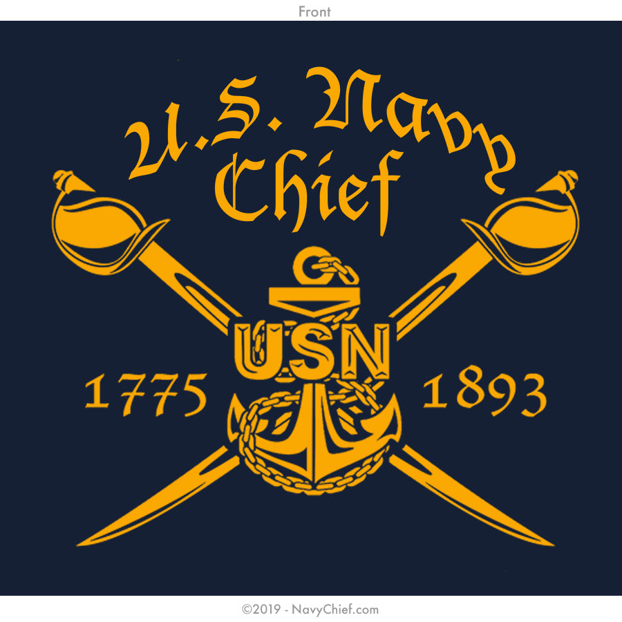 """Chosen Few"" Tribal Hooded Sweatshirt with KOOZIE pocket, Navy - NavyChief.com - Navy Pride, Chief Pride."