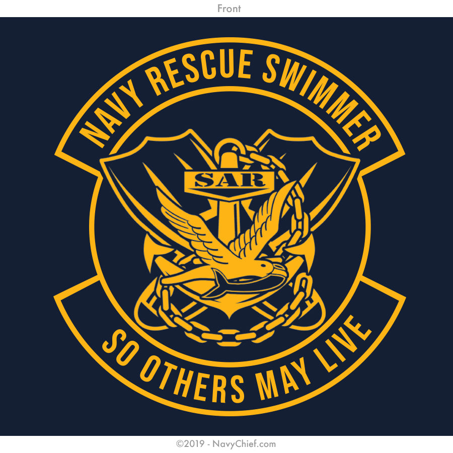 """Navy Rescue Swimmer"" Sleeveless Tee, Navy - NavyChief.com - Navy Pride, Chief Pride."