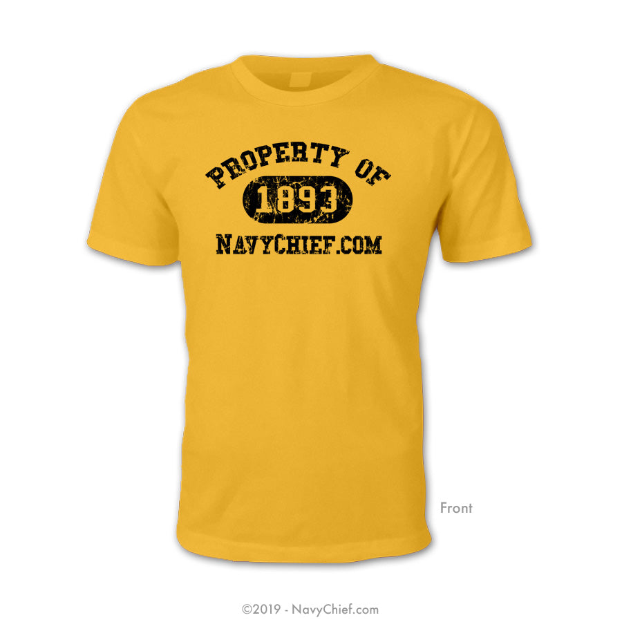 """Property of 1893"" T-shirt, Gold - NavyChief.com - Navy Pride, Chief Pride."