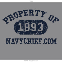 """Property of 1893"" Ladies Tee, Gray - NavyChief.com - Navy Pride, Chief Pride."