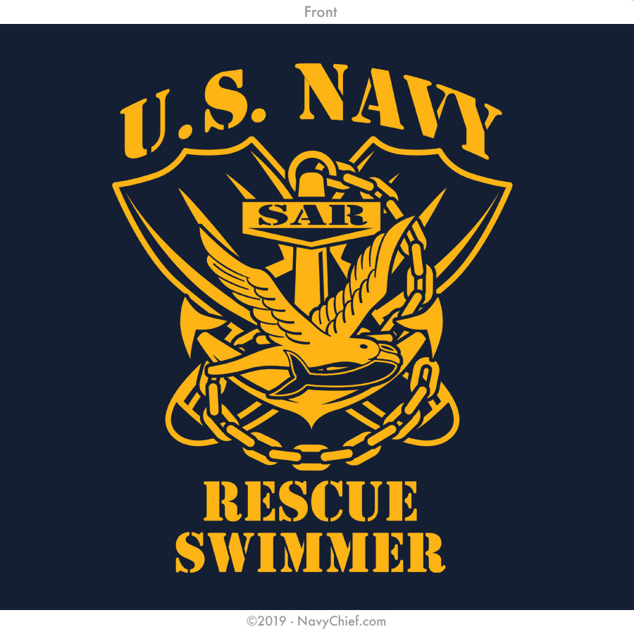 """Rescue Swimmer"" T-shirt, Navy - NavyChief.com - Navy Pride, Chief Pride."