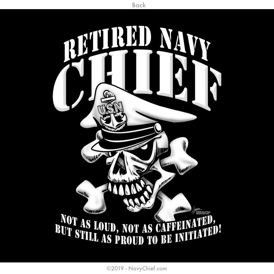 """Retired"" CPO/SCPO/MCPO Skull Zippered Hooded Sweatshirt, Black - NavyChief.com - Navy Pride, Chief Pride."