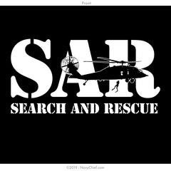"""Search and Rescue (SAR)"" T-shirt, Black - NavyChief.com - Navy Pride, Chief Pride."
