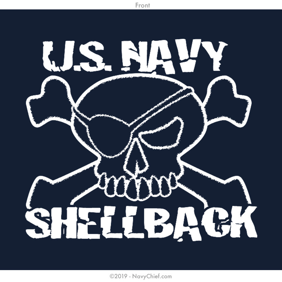 """Shellback"" Zippered Hooded Sweatshirt, Navy - NavyChief.com - Navy Pride, Chief Pride."