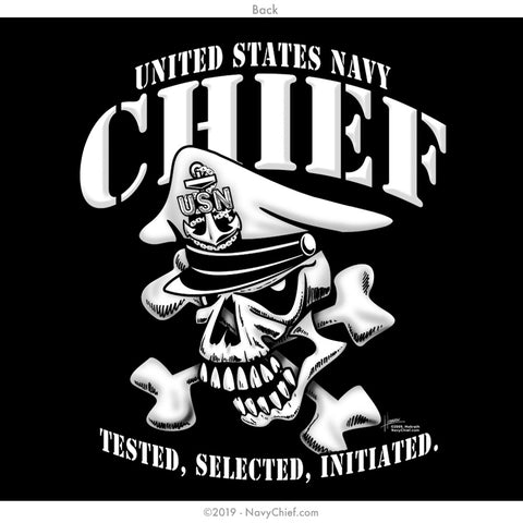 """Tested, Selected, Initiated"" CPO/SCPO/MCPO Skull Long Sleeve Tee, Black - NavyChief.com - Navy Pride, Chief Pride."