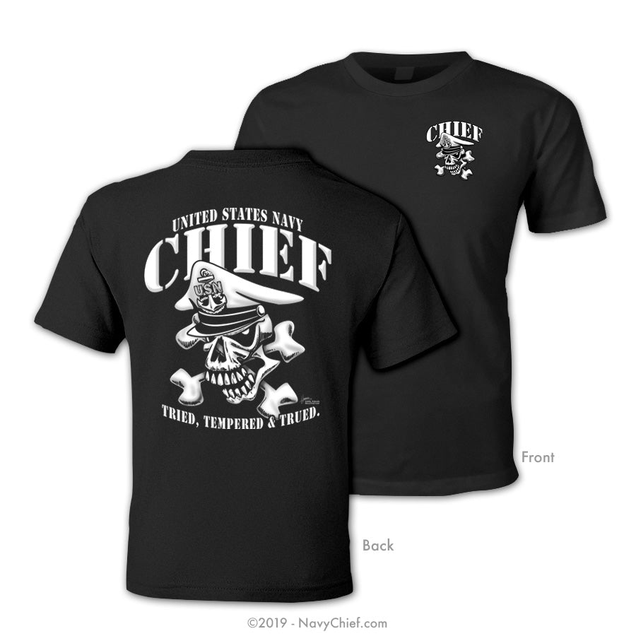 """Tempered"" CPO/SCPO/MCPO Skull T-shirt, Black - NavyChief.com - Navy Pride, Chief Pride."