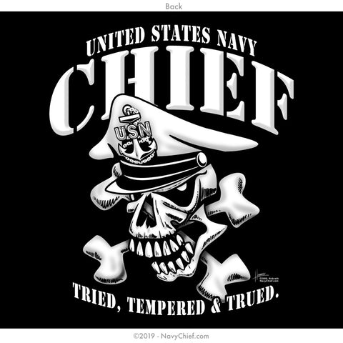 """Tried, Tempered & Trued"" CPO/SCPO/MCPO Skull Long Sleeve Tee, Black - NavyChief.com - Navy Pride, Chief Pride."