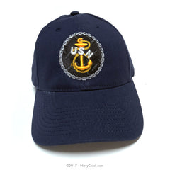 "Embroidered ""Tradition"" Anchor Hat, Navy"