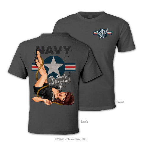 """Navy Pinup"" Tee - Charcoal"