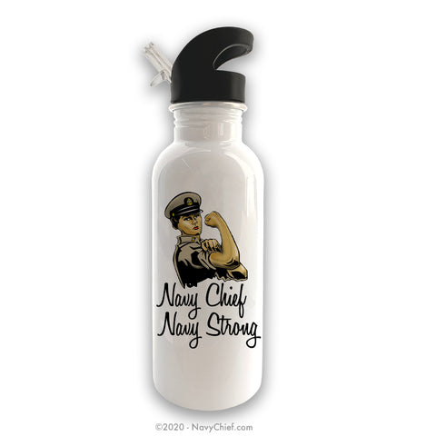 """Chief Rosie"" Stainless Steel Water Bottle - White"