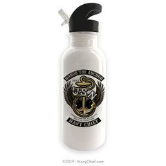 """Honor The Anchor"" Stainless Steel Water Bottle - White - NavyChief.com - Navy Pride, Chief Pride."