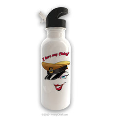 """Love My Chief"" Stainless Steel Water Bottle - White"
