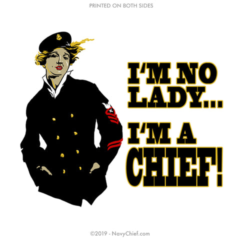 """No Lady"" Stainless Steel Water Bottle - White - NavyChief.com - Navy Pride, Chief Pride."