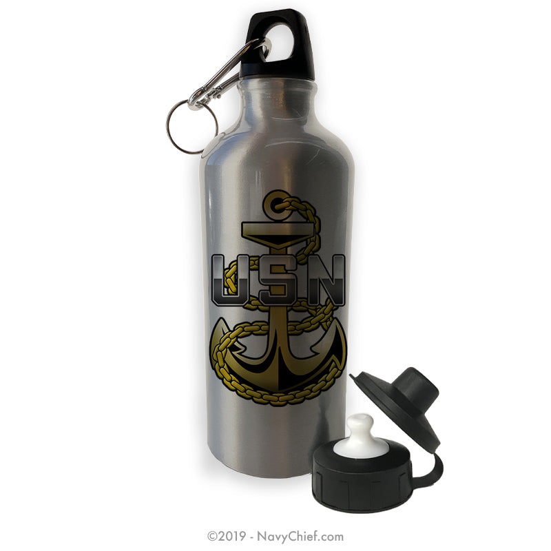 """CPO Anchor"" Aluminum Water Bottle - Silver - NavyChief.com - Navy Pride, Chief Pride."