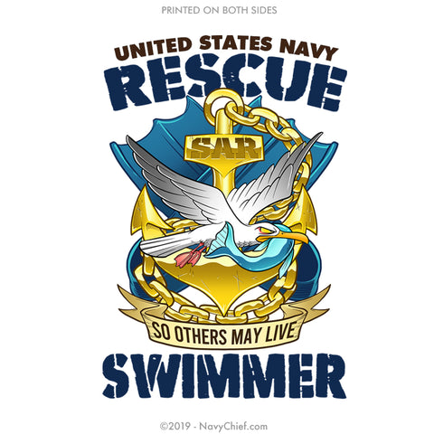 """Rescue Swimmer"" Stainless Steel Water Bottle - White - NavyChief.com - Navy Pride, Chief Pride."
