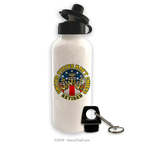 """Retired"" Aluminum Water Bottle - White - NavyChief.com - Navy Pride, Chief Pride."
