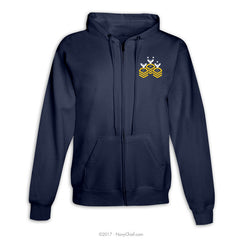 """Chevrons"" Zippered Hooded Sweatshirt - Navy - NavyChief.com - Navy Pride, Chief Pride."