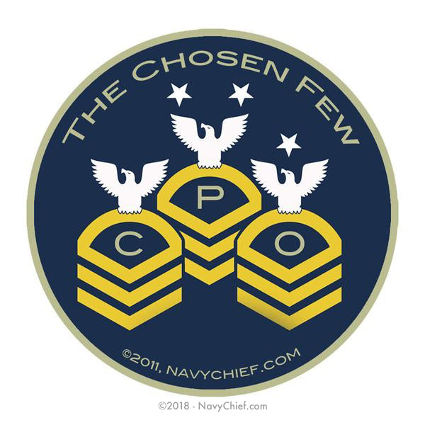 "4"" Round ""CPO Chevrons - The Chosen Few"" Sticker - NavyChief.com - Navy Pride, Chief Pride."
