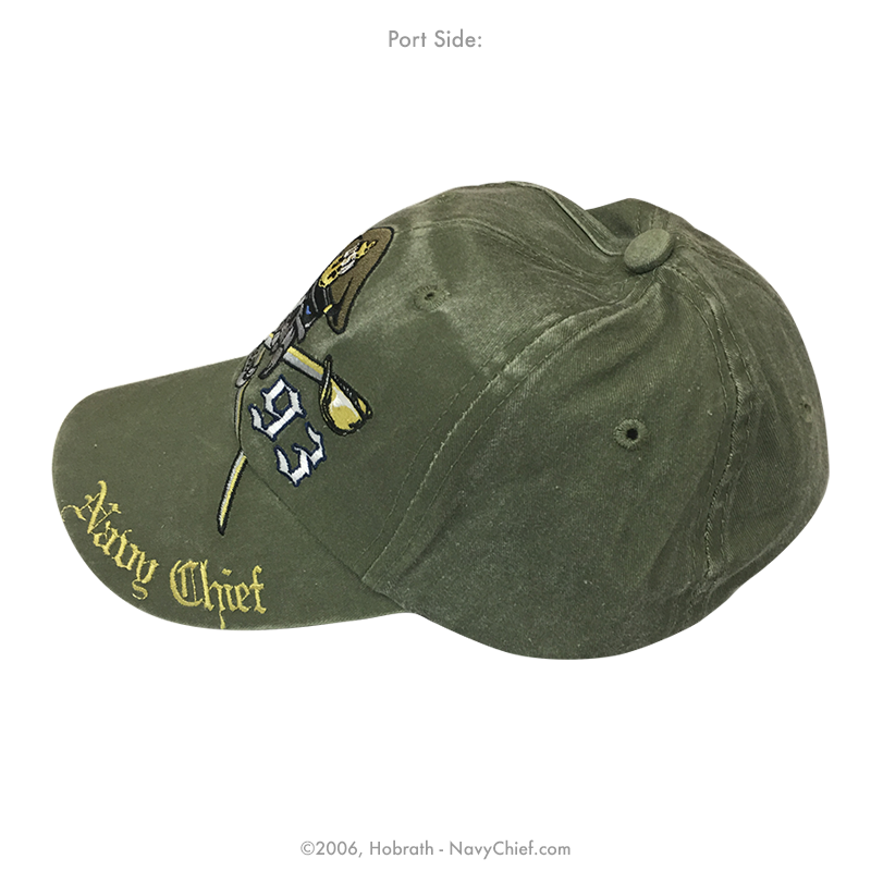 "Embroidered ""Navy Chief Skull and Crossed Cutlasses - 1893"" Hat, Olive Drab"