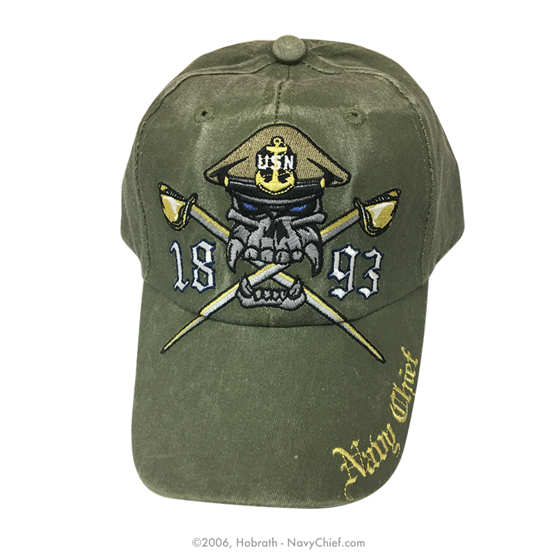 90096fbdc78c6 good u.s. navy chief hat usn 1893 dark navy baseball cap 355e2 46aed  get  embroidered navy chief skull and crossed cutlasses 1893 hat olive drab  eb82b 10c09