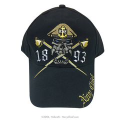 "Embroidered ""Navy Chief Skull and Crossed Cutlasses - 1893"" Hat, Navy - NavyChief.com - Navy Pride, Chief Pride."