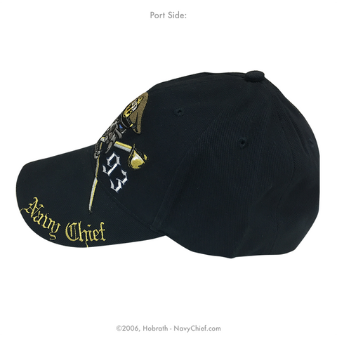 "Embroidered ""Navy Chief Skull and Crossed Cutlasses - 1893"" Hat, Navy"