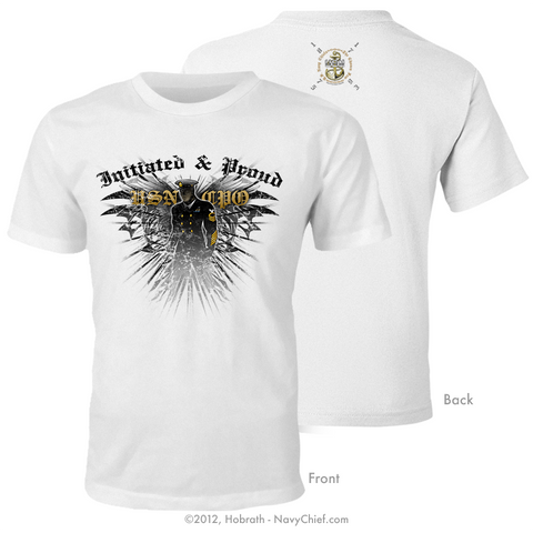 """Initiated & Proud USN CPO"" T-shirt, White - NavyChief.com"