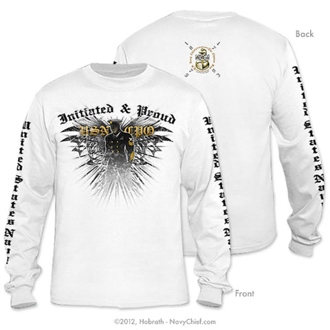 """Initiated & Proud USN CPO"" Long Sleeve T-shirt, White"