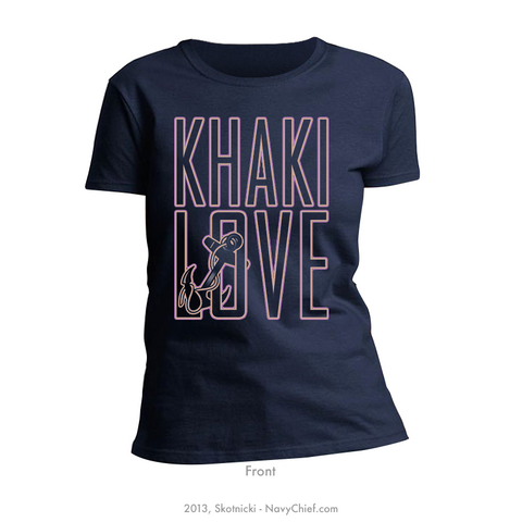 "Ladies ""Khaki Love"" T-shirt, Navy - NavyChief.com"
