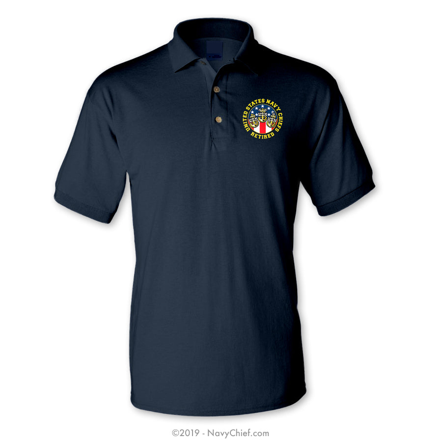 """USN Retired Chiefs""  Polo, Navy - NavyChief.com - Navy Pride, Chief Pride."