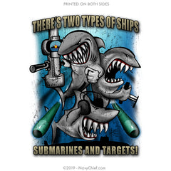 """Subs & Targets"" Stainless Steel Water Bottle - White - NavyChief.com - Navy Pride, Chief Pride."