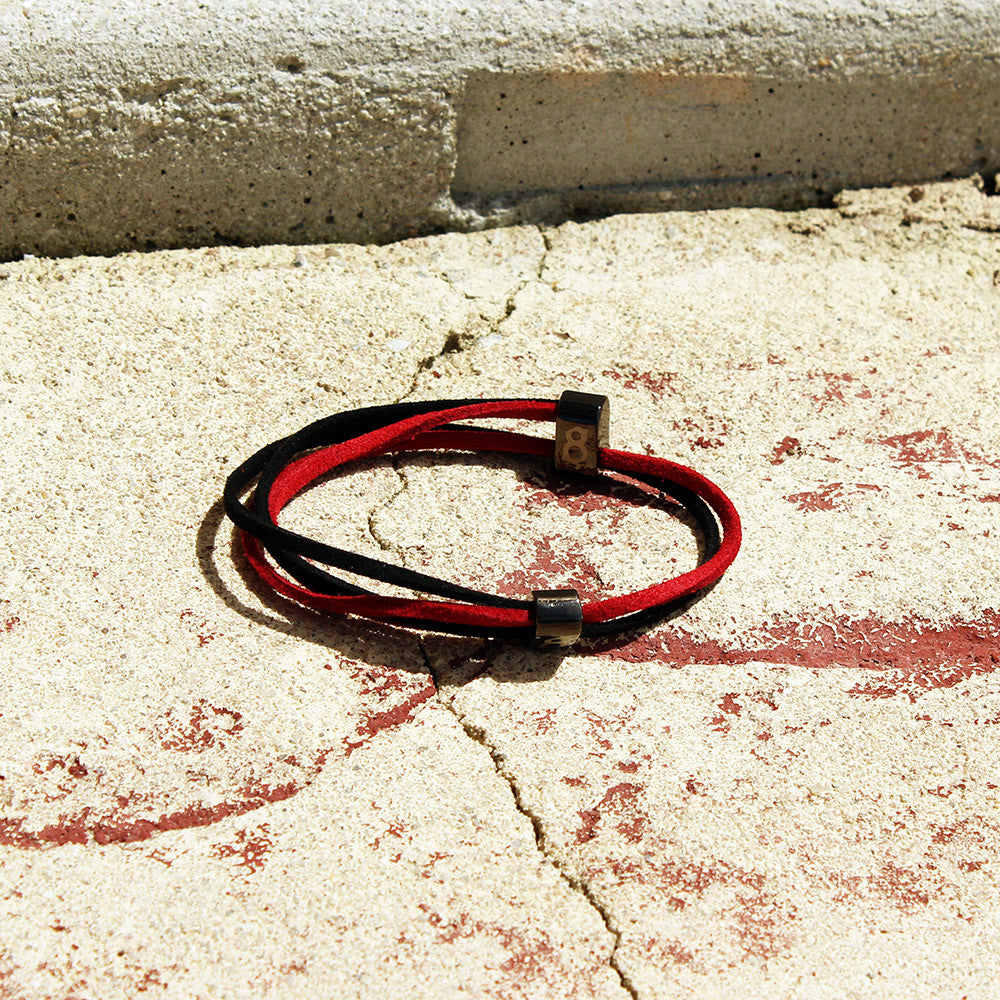 Black and red (bred) leather st8te bracelet