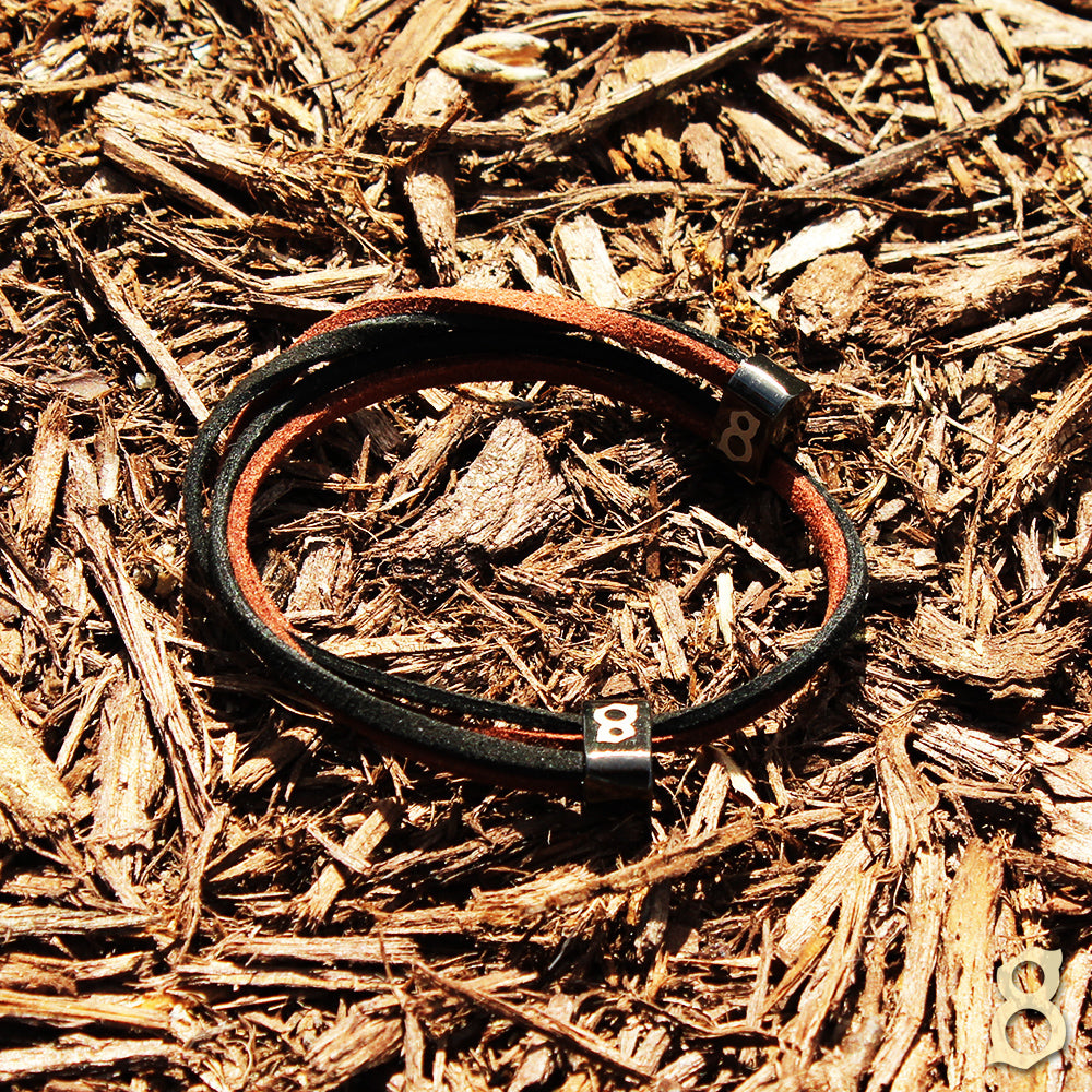 Black and brown leather st8te bracelet