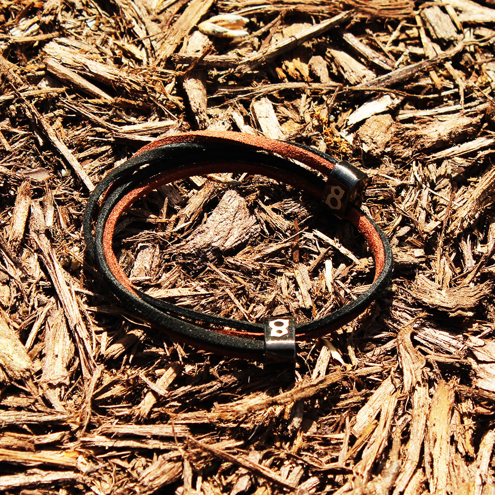Black and brown (wood) leather st8te bracelet