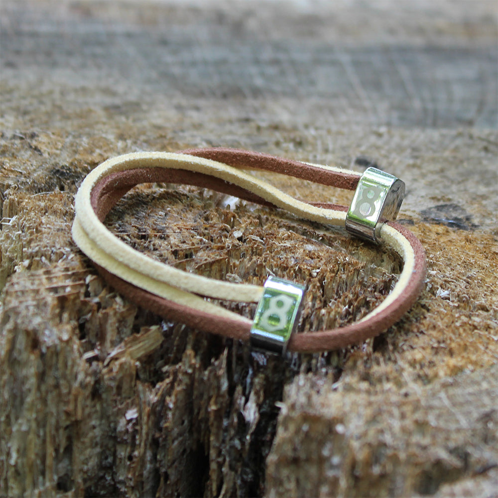 Tan and brown leather st8te bracelet
